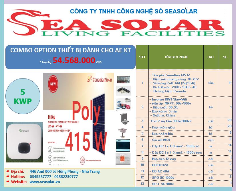 Combo option thiết bị 5kw pin Canadian poly 415w