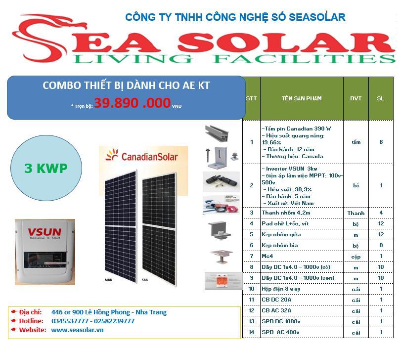 Combo năng lượng mặt trời hòa lưới 3kW